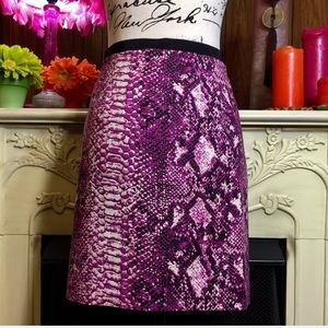 Loft Pink Black and White Snakeskin Print Skirt